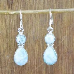 Larimar Gemstone Handmade Earrings 925 Sterling Silver Jewelry
