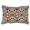 Geometric Design Embroidered Cotton Pillow Cover