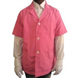 DR Apron Lab Coat Doctor Coat Supervisor Short Sleeve Pink Color Coat