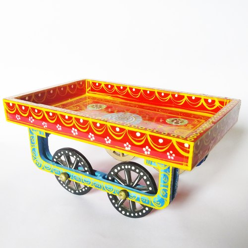 Handpainted Cutom Hand Painted Wooden Cart Thela for Gift