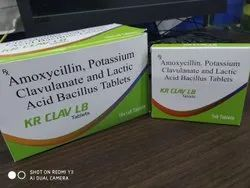 Amoxycillin & Potassium Clavulanate Tablets With Lactic Acid Bacillus, K R PHARMA, Packaging Size: 10*1*6