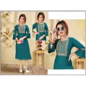 Party Wear Designer Bell Sleeve Rayon Kurti, Size: S-xxl, Wash Care: Machine Wash
