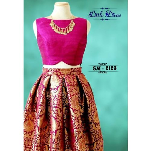 Brocade Party Wear Kids Sleeveless Crop Top And Lehenga Rs 1660 Piece Id 20625263833