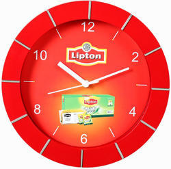 Red,Golden ABS Plastic Analog Promotional Wall Clock
