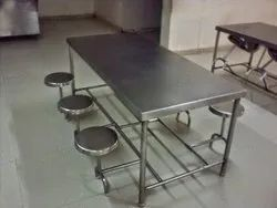 Silver SS Canteen Tables with Foldable Chairs - 6, 4, 8 Seater
