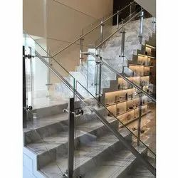 Stairs Stainless Steel Glass Railing, For Home, Hotel