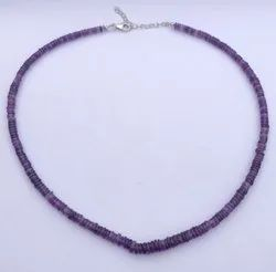 Natural African Amethyst Stone Smooth Heishi Tyre Beads Necklace