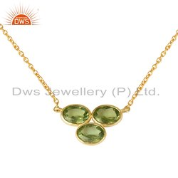 18k Gold Plated 925 Silver Peridot Gemstone Pendant Necklace