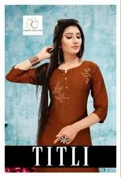 TITLI Rayon Silk With Beautiful Designer Hand Work And Silai Pattern Kurtis