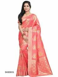 Silk Printed Peach Color Beautiful Traditional Saree