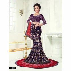 Cotton Purple Stylish Gown Saree