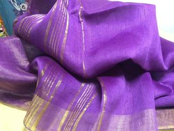 Pure Linen Silk Plain Saree