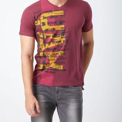 Apple Red Cotton Printed V Neck T-Shirt