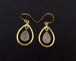 Rose Quartz Gemstone Hoop Earring  with Gold Plated