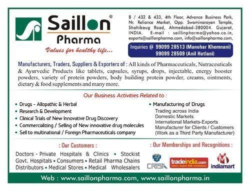 Saillon Pharma - Manufacturer from Shahibaug, Ahmedabad, India