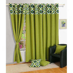 Border Printed Green Cotton Window Curtain