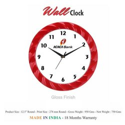 Plastic Round Wall Clock, Size: 12.5 Inch
