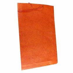 Orange Plain Handmade Paper Bag, For Shopping