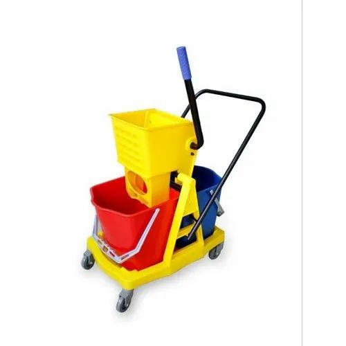 Plastic and Aluminium Hotel Floor Bucket Cleaning Trolley,  for Hotels