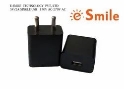 2 Amp  Black, Travel Charger With Single USB