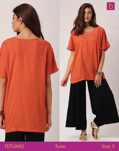 ab68ce4cd7 Indusdiva Orange Tunic Tops Tunics For Women Thigh Length Tunic With  Dropped Shoulders And Embroidery Tunic