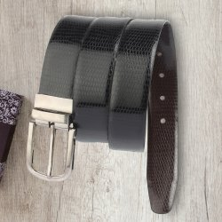 XC Black Texture Leather Belt