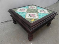 Modern  Square Tile Wooden Table for Hotel, Size: 39X39X18 Cm