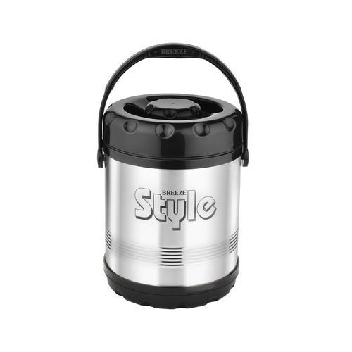 Silver and Black Breeze Steel Insulated Lunch Box