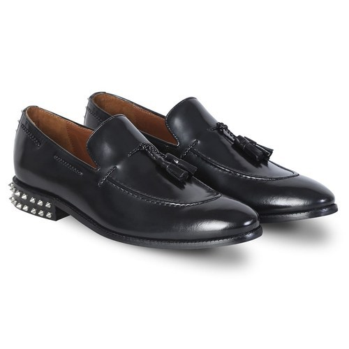 bf35d3f0b882f Men Black Leather Studded Back Side Lacing Tassel Loafers Shoes, Rs ...