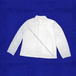 White Plain Natural Cow Soft Split Leather Welding Jacket For Construction