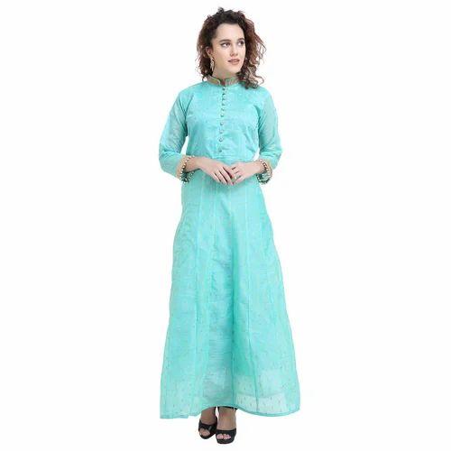 4b0dd1a9845 Free Chanderi Silk Papsara Green Silk Women  s Gown Suit