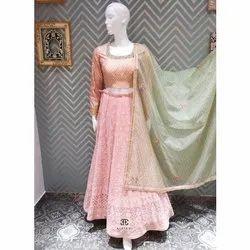 Aarekhi Chanderi + Georgette Ladies Lehenga Choli, Dupatta Fabric: Net
