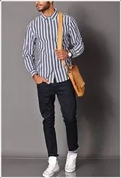 Collar Neck Mens Stripes Shirt