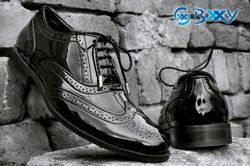 Bxxy Black PU Brogue Shoes, Size: 6 to 14
