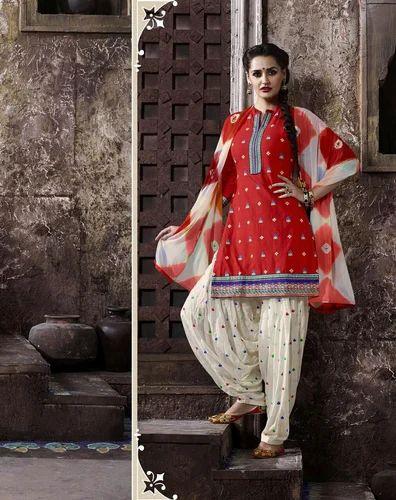 5282767c88 Cotton Party Wear Red Patiala Suit, Semi-stitched, Rs 795 /piece ...