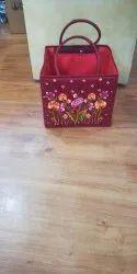 Red Badket Embroidered Basket