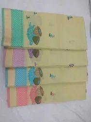 Casual Wear Light Yellow Ladies Elegant Look Gadhwal Embroidered Cotton Saree, 6.2 m, Machine Made