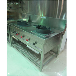 Silver Stainless Steel Chinese Cooking Range