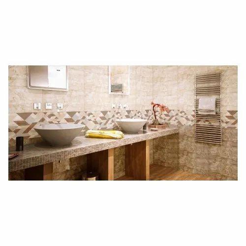 Ceramic Tiles Glossy Designer Bathroom Wall Tile, Thickness: 5-10 mm