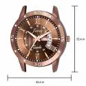 Jainx Brown Mesh Band Day and Date Function Analog Watch for Men's - JM374