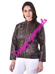 09b88a162 Dark Brown Faux Leather Moto Jacket for Women