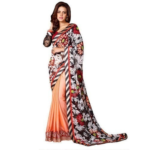 0d6a68e86a514 Party Wear Fancy Printed Saree