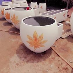 Outdoor Round Cement Flower Pot