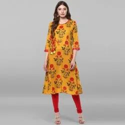 Janasya Women's Mustard Pure Cotton Kurta(JNE2177)