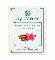 18 + Ayuveer Sandalwood & Rose Face Pack, Packaging Size: 100g, Powder