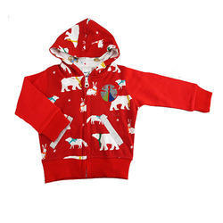Magic Train Fancy Printed Baby Red Hooded Jacket