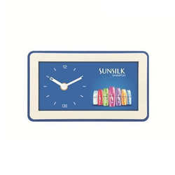 Plastic Blue and White Table Clock, For Promotional Gifts, Shape: Rectangle