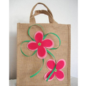 Medium Size Jute Bag Pink Felt