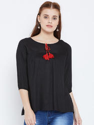 100% Rayon Women's Black Colour Top