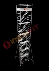 Silver Aluminum Double Width Mobile Tower Scaffold
